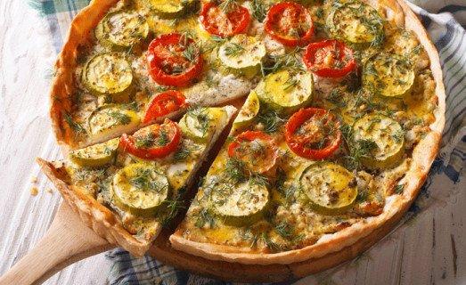 Tarte aux courgettes, aux tomates et au chèvre